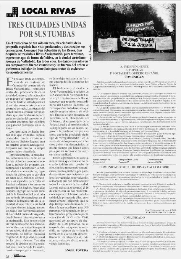 Noticia del Este de Madrid tras la profanación de tumbas en el cementerio de Rivas Vaciamadrid