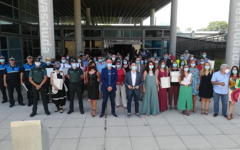 Homenaje a los trabajadores de servicios esenciales durante la Covid-19 en Rivas Vaciamadrid
