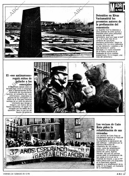 Noticia de ABC sobre los detenidos por a profanación de tumbas en el cementerio de Rivas Vaciamadrid