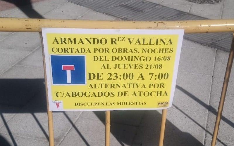 Cortes de tráfico nocturnos hasta el viernes en Covibar por obras de asfaltado