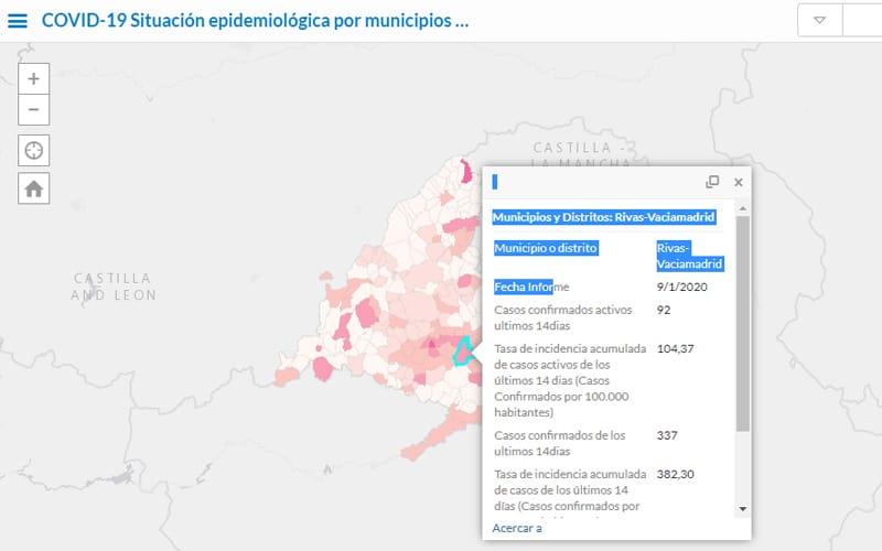 Rivas acumula 337 casos confirmados de Covid-19 en los últimos 14 días, un 18,6% más que hace una semana