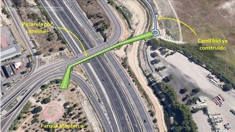 Proyecto de pasarela peatonal y ciclista sobre la A-3 en Rivas Vaciamadrid