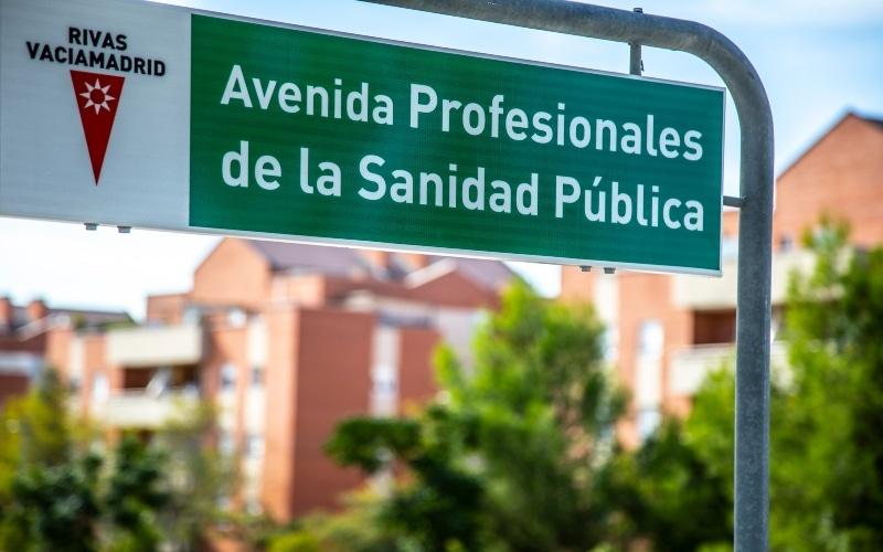 Rivas 'rebautiza' la avenida Juan Carlos I como Avenida de los Profesionales de la Sanidad Pública