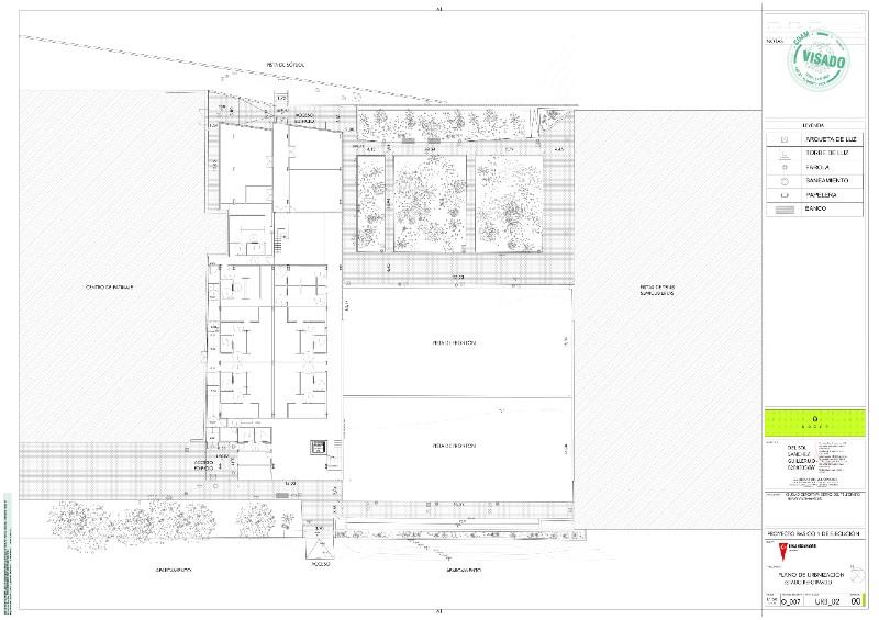 Plano del edificio de vestuarios de la Ciudad Deportiva Cerro del Telégrafo
