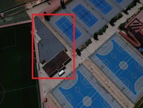 Ubicación de los vestuarios del campo de fútbol del polideportivo Cerro del Telégrafo