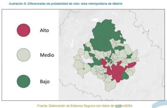 Mapa de riesgo de percance de robo en vehículos. Área metropolitana de Madrid