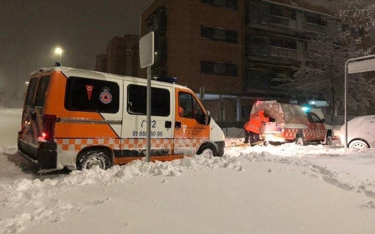 Protección Civil durante la nevada