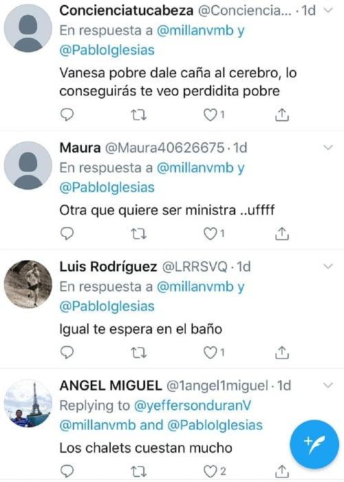 Tweets machistas dirigidos a Vanessa Millán
