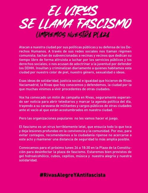 Manifiesto Rivas Alegre y Antifascista