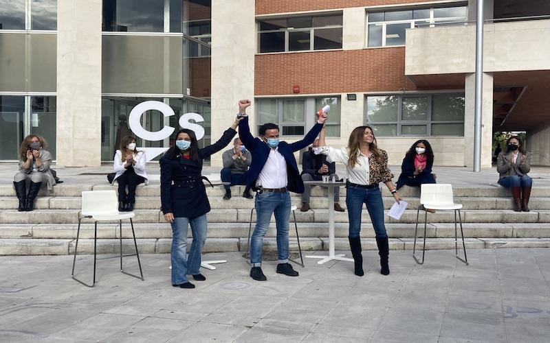 Arrimadas, Bal y Ruiz (Ciudadanos) apelan a las familias durante el acto de campaña en Rivas