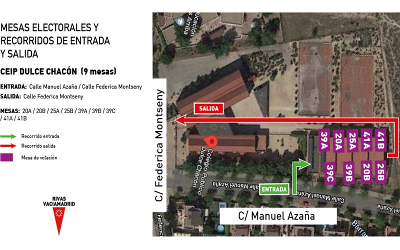 El Ayuntamiento de Rivas diseña mapas de los colegios electorales para facilitar las entradas y salidas durante los comicios del 4-M