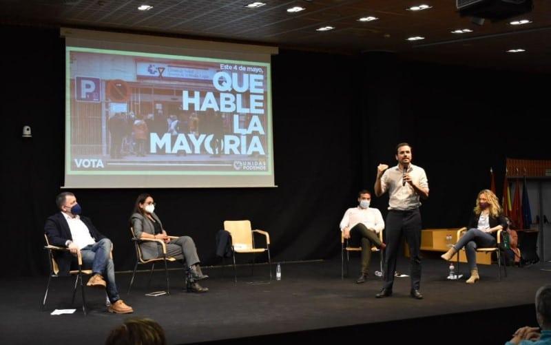 Alberto Garzón, durante su intervención en el acto de campaña de Unidas Podemos en Rivas