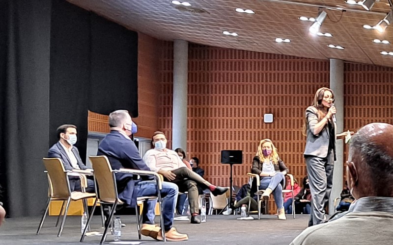 Sol Sánchez, en el acto de campaña de Unidas Podemos en Rivas Vaciamadrid