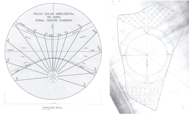 Planos de diseño del reloj de sol del parque de Asturias de Rivas Vaciamadrid