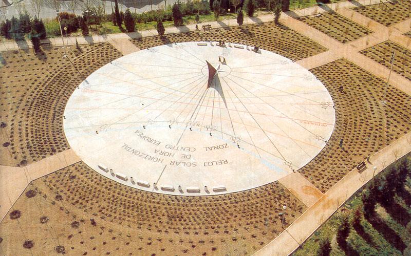 Vista aérea del reloj de sol de Rivas en su inauguración