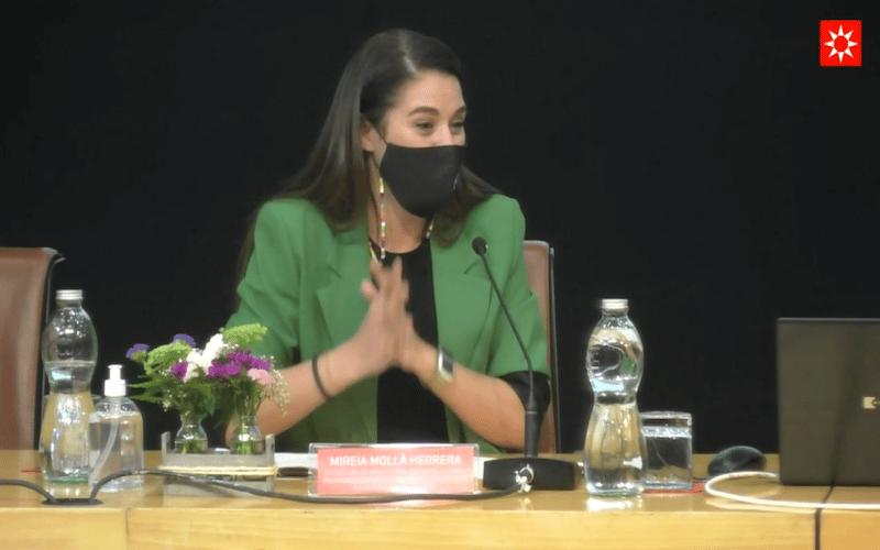 Mireia Mollá, consellera de Agricultura y Transición Ecológica de la Generalitat Valenciana, en la primera jornada del Plan de Economía Circular en Rivas Vaciamadrid