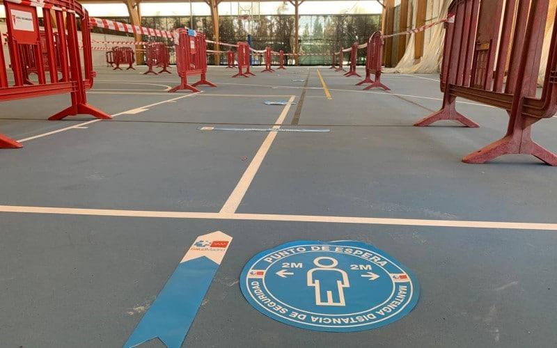 Polideportivo Cerro del Telégrafo, habilitado como centro de vacunación regional en Rivas Vaciamadrid
