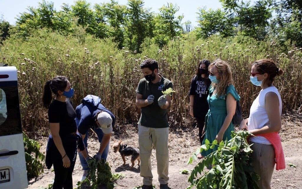 La concejala de Transición Ecológica, Vanesa Millán, y miembros de SEO-Birdlife en el Parque Regional del Sureste
