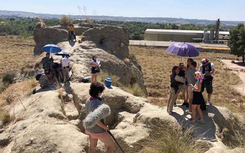 Rodaje de la película ´El efecto Darma´, bajo la dirección de José Luis Rojas, en los vestigios de la batalla del Jarama en Rivas Vaciamadrid