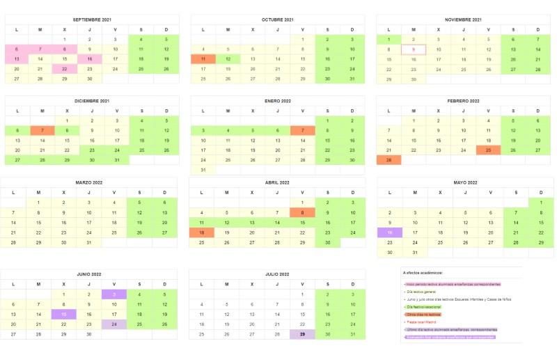 Así es el calendario escolar para el curso 2021-2022 en Rivas Vaciamadrid