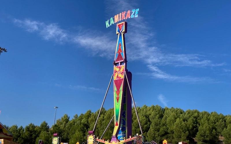 Atracciones del Recinto Ferial con motivo de las fiestas, situado en el paseo de Alicia Alonso de Rivas Vaciamadrid