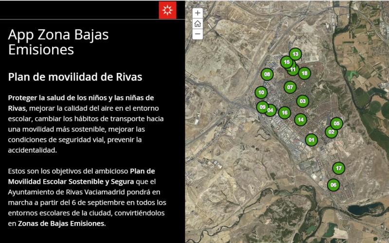 El mapa oficial de las zonas de bajas emisiones (ZBE) en los colegios de Rivas