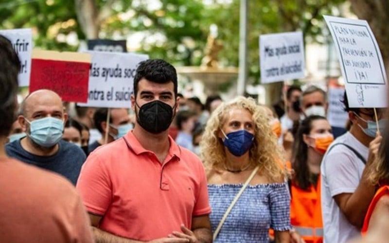 Jorge Badorrey, portavoz de Ciudadanos Rivas, en una manifestación reciente convocada por la plataforma Stop Suicidios