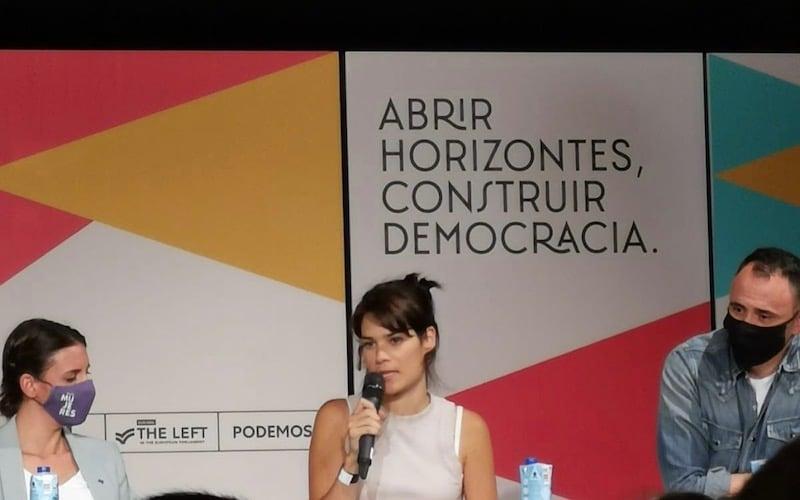 Isabel Serra, exportavoz del partido de la Asamblea, durante el acto de presentación de la 'Uni' de Otoño 2021 en Rivas